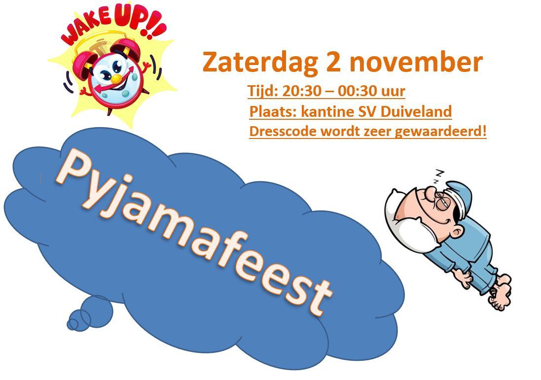 Themafeest: Pyjamaparty 2 november a.s!