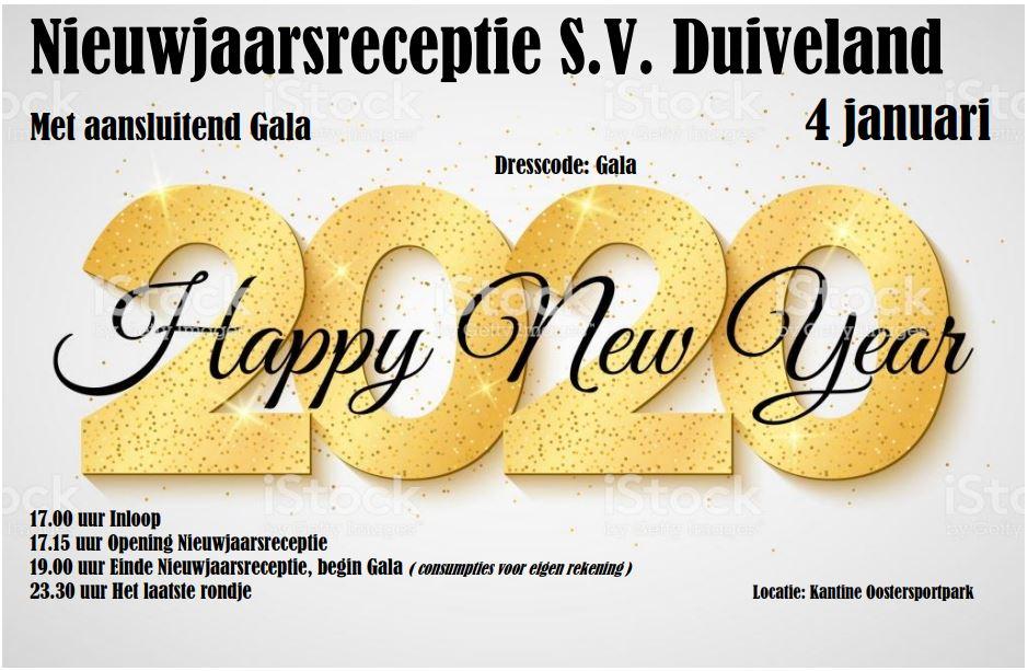 Nieuwjaarsreceptie SV Duiveland met aansluitend gala op 4 januari
